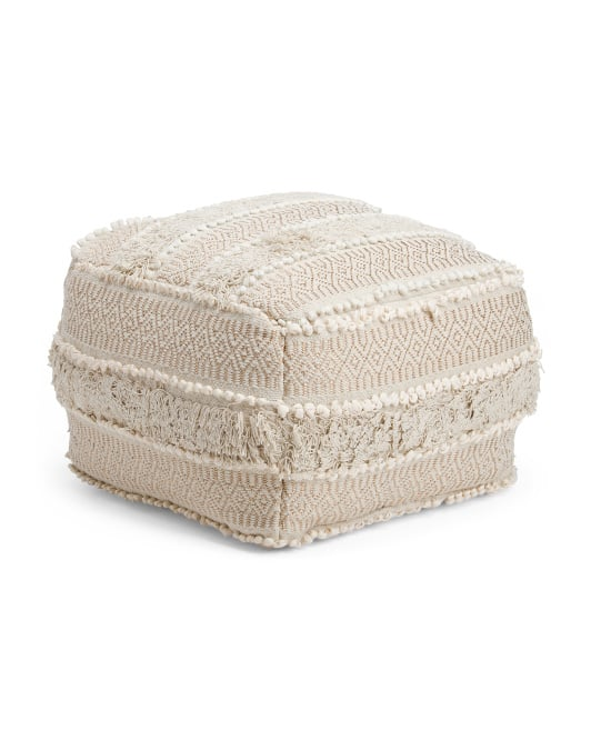 Made in India Woven Texture Pouf