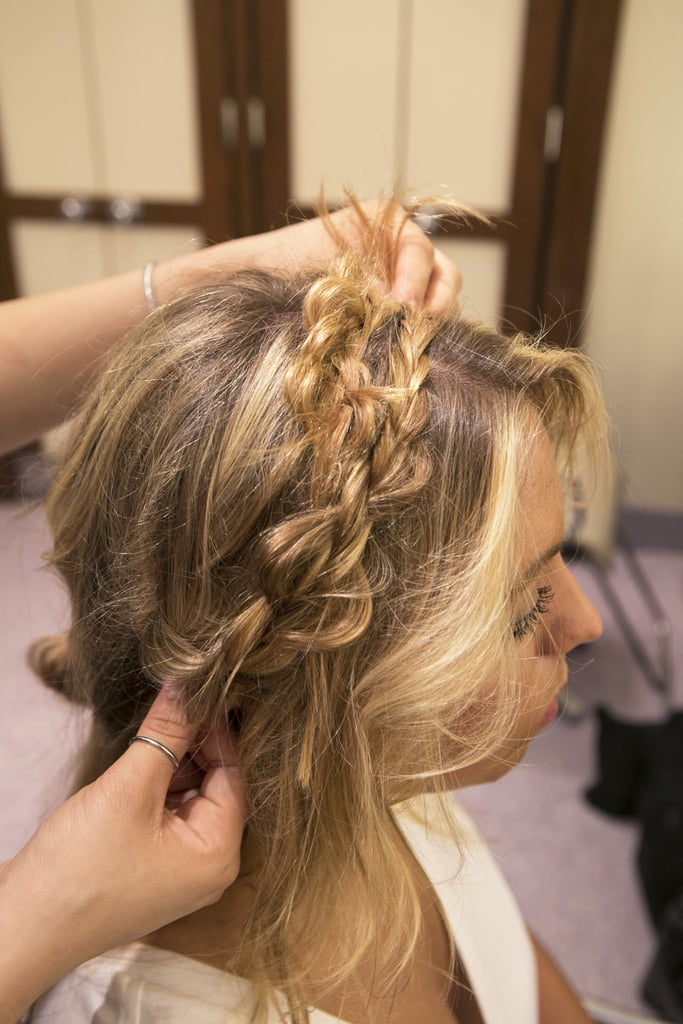 Drape the braid the same way as the left side, and secure with pins.