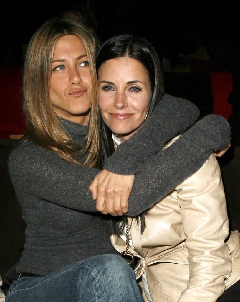 Jennifer Aniston and Courteney Cox cuddled up at an LA party in April 2007.
