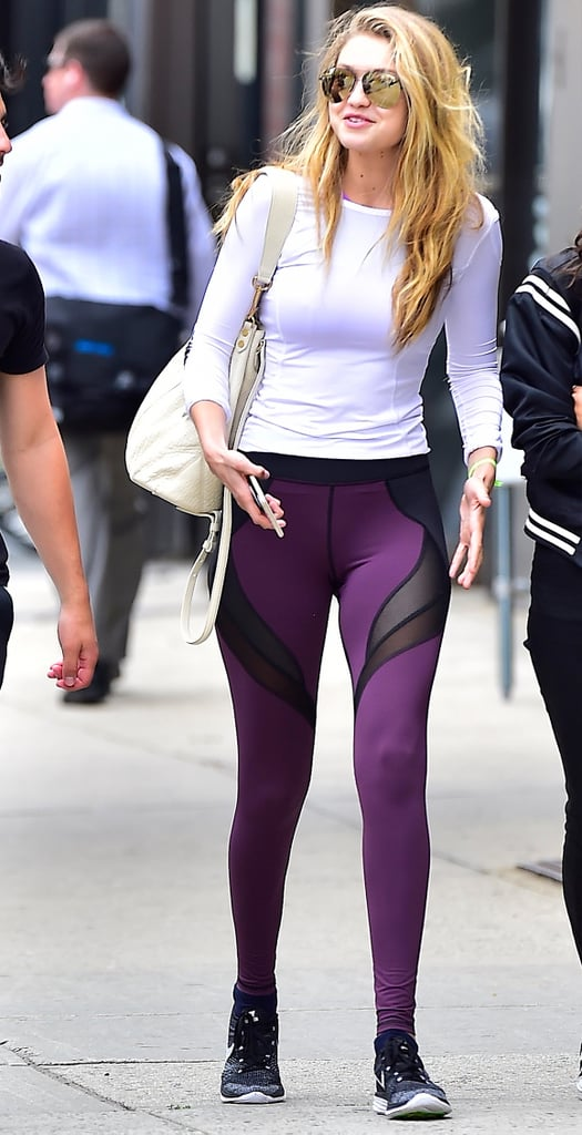 She Rocks the Mesh Legging Trend