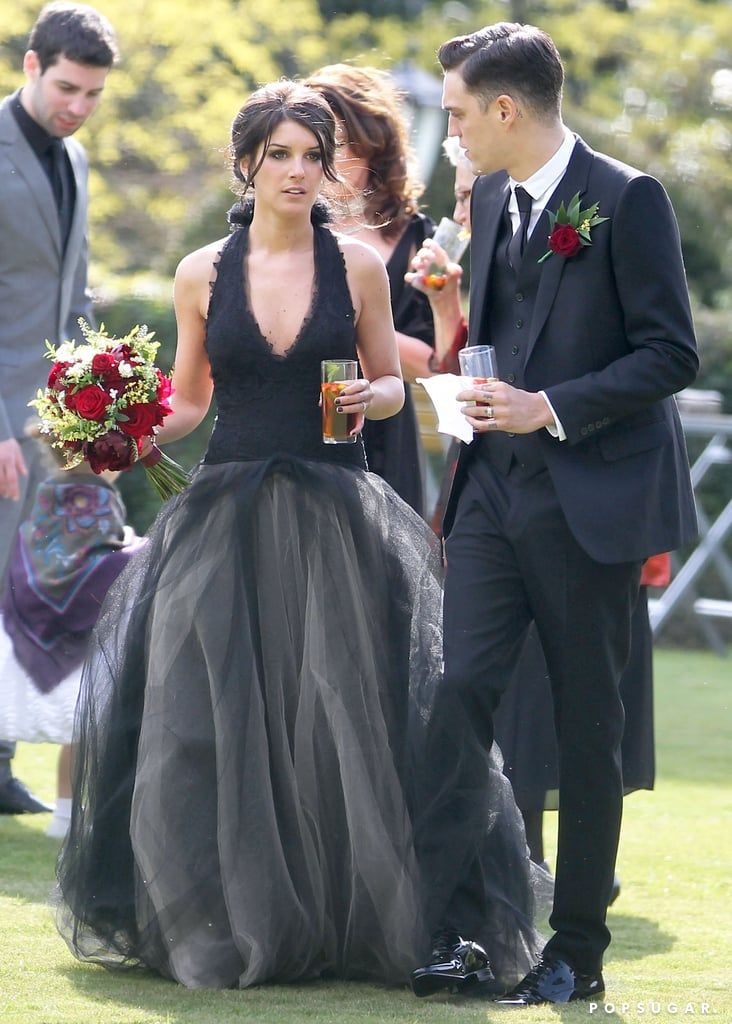 Shenae Grimes donned a black Vera Wang wedding gown to marry Josh Beech.