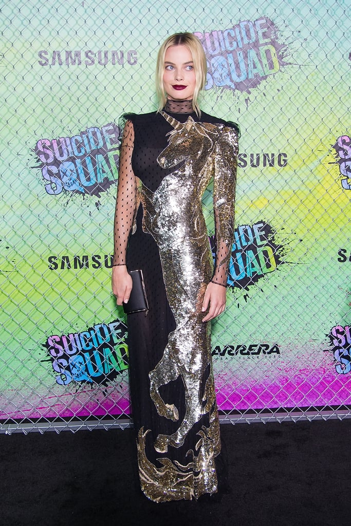 Wearing an Alexander McQueen gown at the world premiere of Suicide Squad.