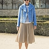 Dress Down With a Biker Jacket and Iridescent Slip-Ons