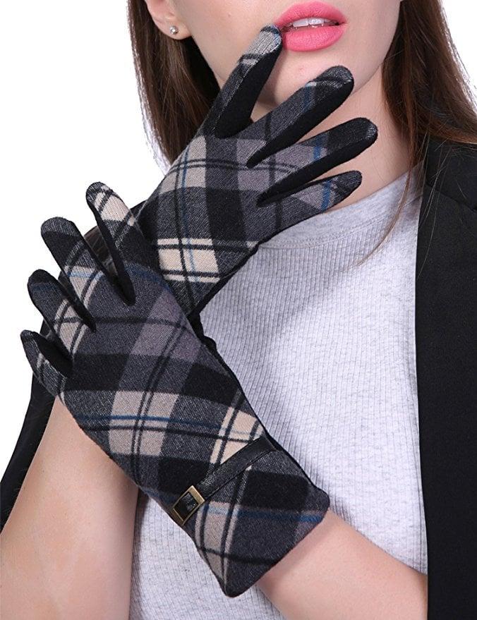Suosai Plaid Gloves