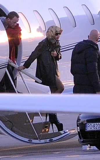 Lady Gaga was spotted deboarding her private jet in Gdansk, Poland on Friday (November 26).