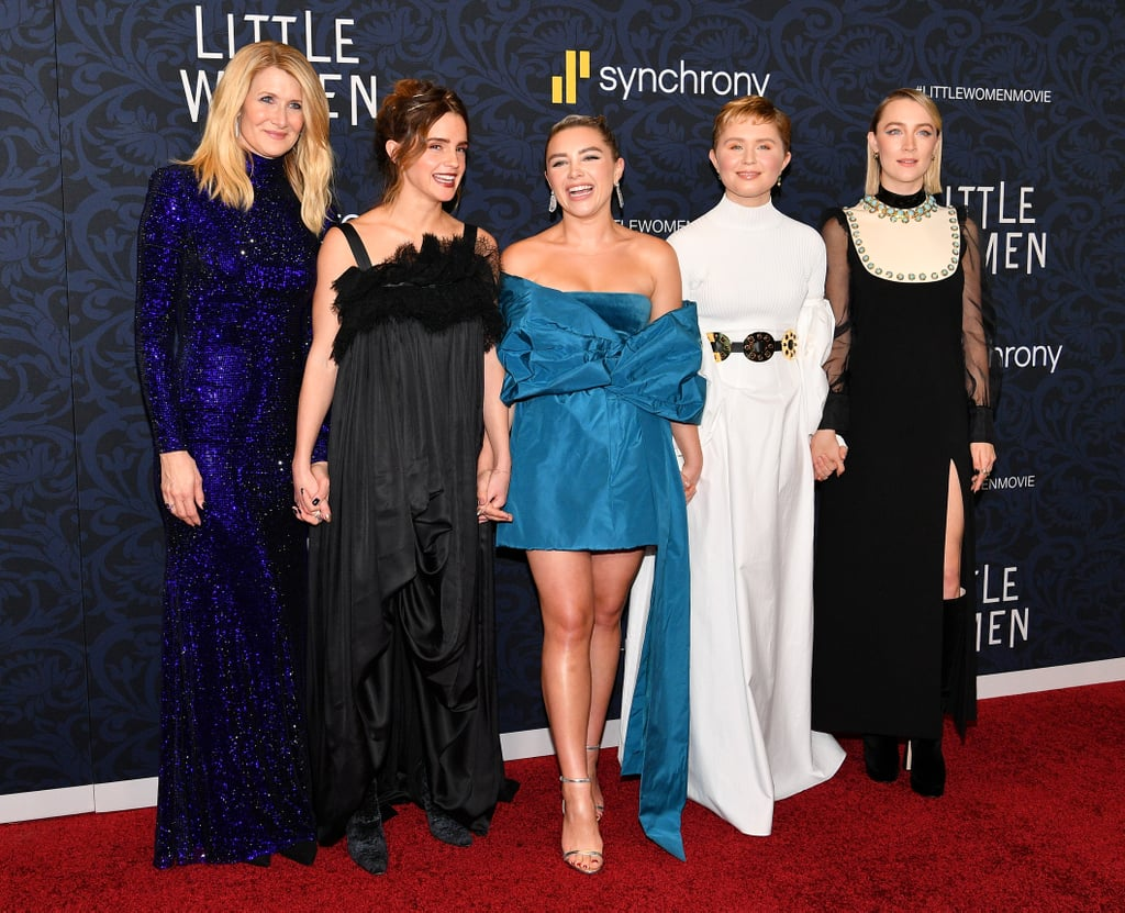 "The March sisters recently reunited in New York City for a very special occasion. On Dec. 7, the leading Little Women stars Saoirse Ronan, Emma Watson, Florence Pugh, and Eliza Scanlen stepped out with director Greta Gerwig to celebrate their world premiere.  The remake's four leads appeared in good spirits as they smiled and posed for pictures, along with costars Laura Dern, Louis Garrel, and James Norton. Timothée Chalamet was the night's resident photobomber, as he popped into photos behind Greta and even flashed a ""LW"" hand sign on the red carpet. Timothée previously admitted he was starstruck meeting Emma when they first started filming, but he looked totally at ease as he played around at the premiere. They all might as well be family at this point, right? Keep reading to see more photos from the fun evening, ahead."