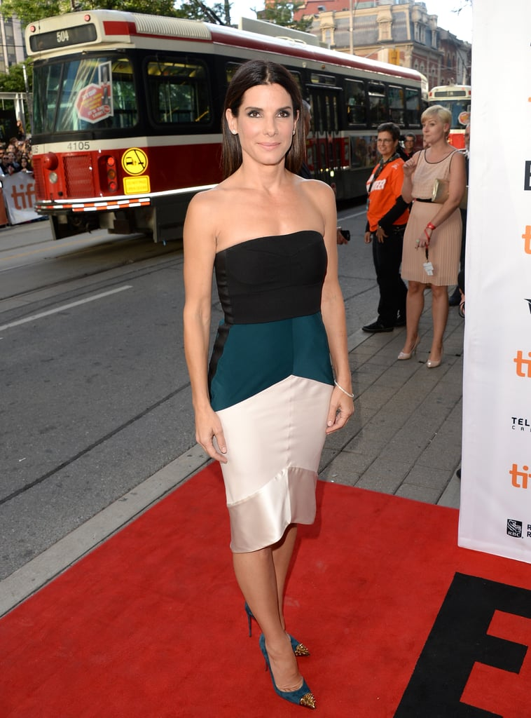 Sandra Bullock wore a Narciso Rodriguez dress to her Gravity premiere.