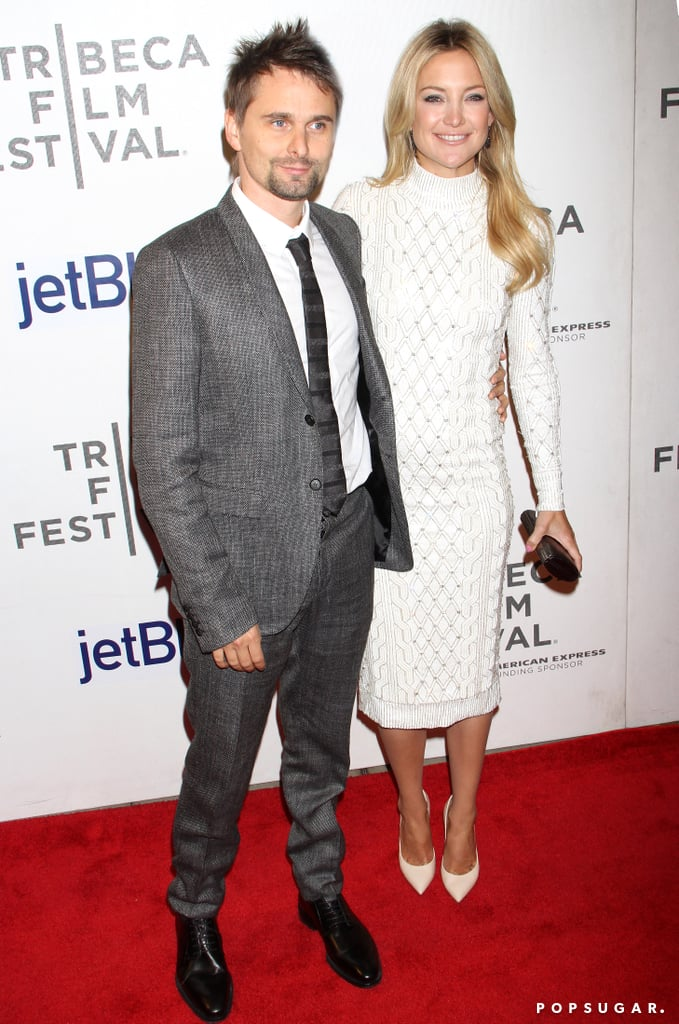 Kate Hudson, in a white Jenny Packham dress, posed on the red carpet with her fiancé, Matthew Bellamy, for the Tribeca Film Festival premiere of The Reluctant Fundamentalist in NYC on Monday night. When Matthew wasn't by her side, Kate smiled for the cameras with her costars Riz Ahmed and Kiefer Sutherland. Kate's big festival night comes after a busy day of press — check out four quick quotes from our interview with Kate yesterday!  She also enjoyed a jam-packed weekend in the Big Apple as she celebrated her 34th birthday with her boys, including sons Ryder and Bingham. On Sunday, Kate, Matthew, Ryder, and Bingham caught a performance of Stomp. The foursome's time together in Manhattan will come to a close soon, though, since Matthew is heading to Canada for a string of tour dates with Muse this week.