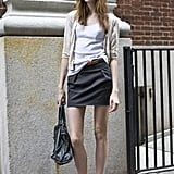 Easy separates like a white t-shirt and a black cotton skirt are warm-weather must haves.