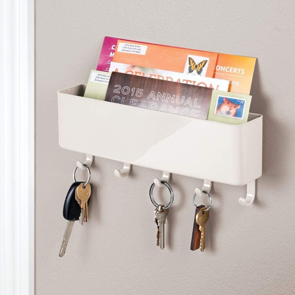 mDesign Wall Mount Plastic Mail Organizer Storage Basket