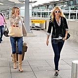 Cameron Diaz and Gwyneth Paltrow arrive together at the airport in London.