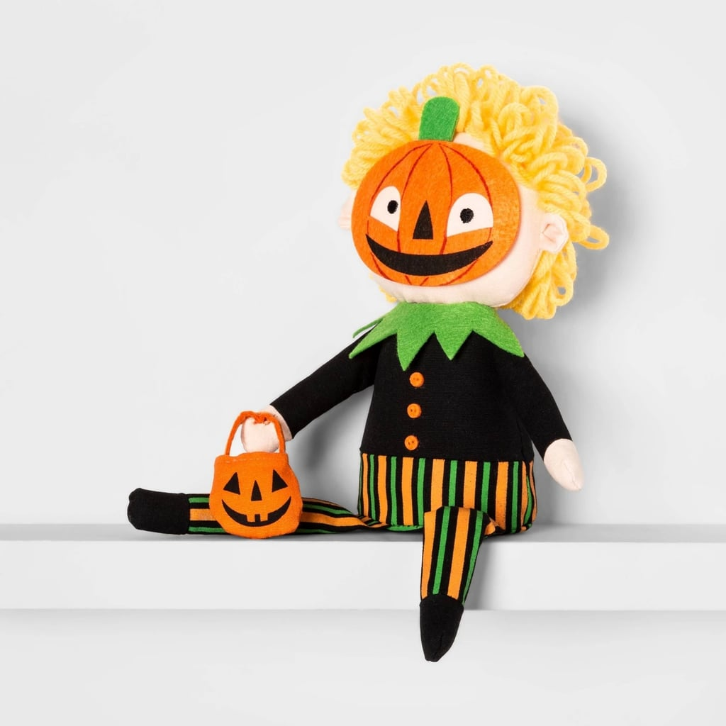 Sitting Trick-or-Treater Pumpkin Halloween Fabric Figure