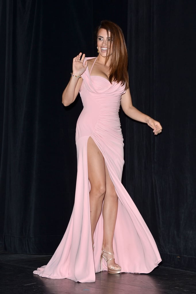 Penélope Cruz showed serious skin in a pink gown with a high slit at the 2012 Toronto Film Festival premiere of her film Twice Born.