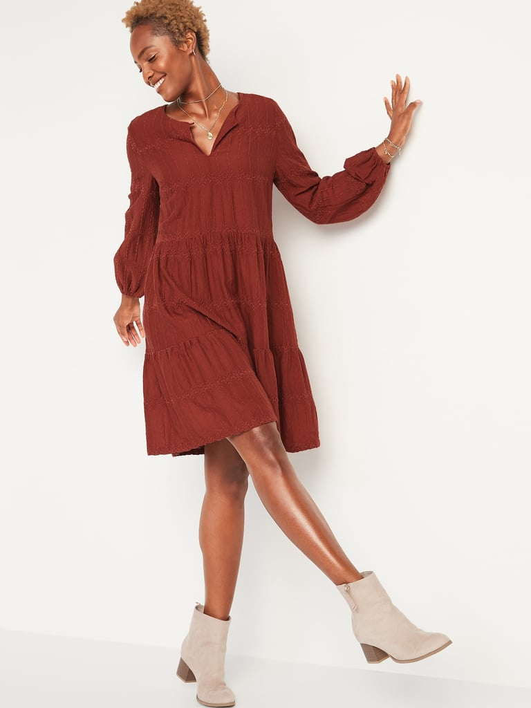 Embroidered Tiered-Hem Swing Dress