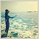 Rosie Huntington-Whiteley hit the beach in a teeny-tiny bikini. Source: Instagram user rosiehw