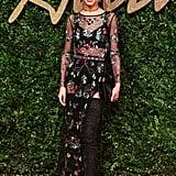 At the British Fashion Awards in November 2015, Cheryl wore a sheer dress by Topshop.