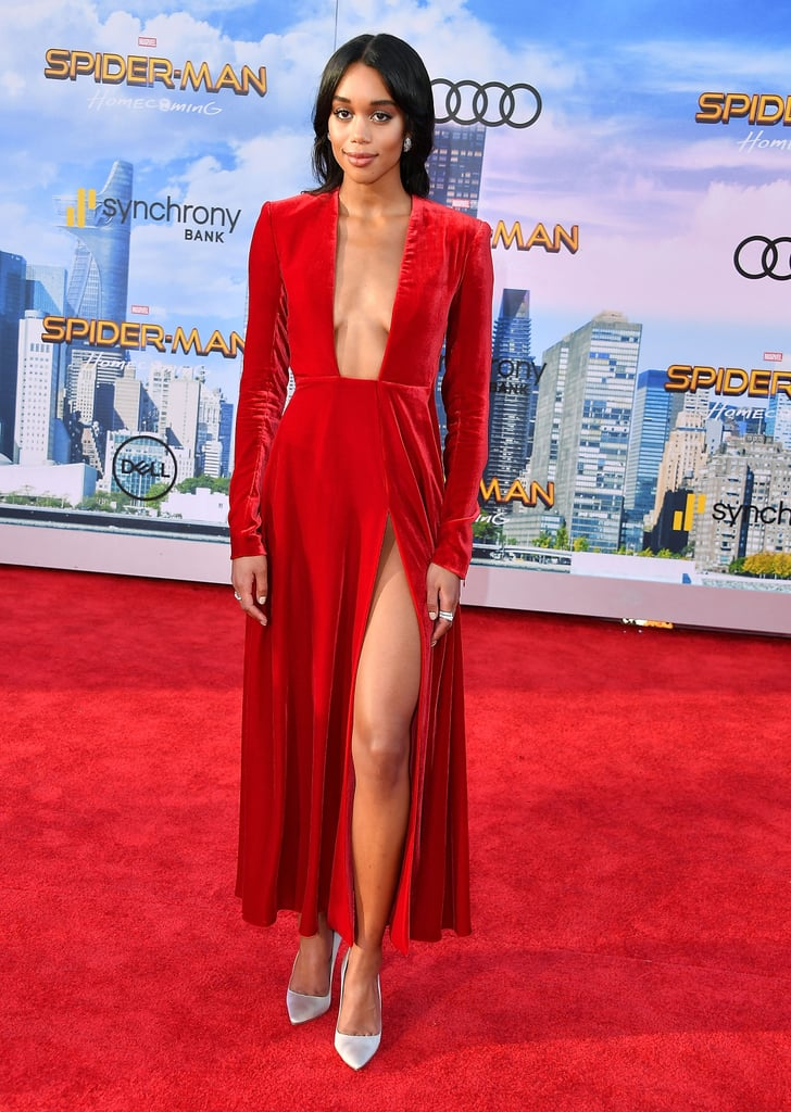 She matched the red carpet in a velvet Calvin Klein by Appointment dress. The red ankle-length dress featured a thigh-high slit and plunging neckline.