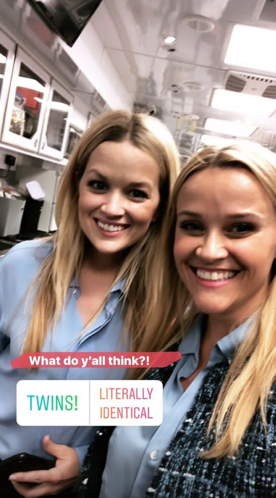 """Reese Witherspoon's daughter, 18-year-old Ava Phillippe, may be a spitting image of her mum, but turns out, Reese has another twin: her body double Marilee Lessley. Reese first met Marilee on the set of Legally Blonde 2, and she's been her body double in five movies now. On Monday, Reese finally introduced her to the world via Instagram. """"I want to introduce you to someone who has been working with me for years,"""" Reese said in a video. """"This is Marilee and she's my double. Don't we look alike?"""" If we didn't know any better, we'd guess these two were twins."""