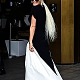 Rita Ora Wears Superlong Platinum Blonde Ponytail
