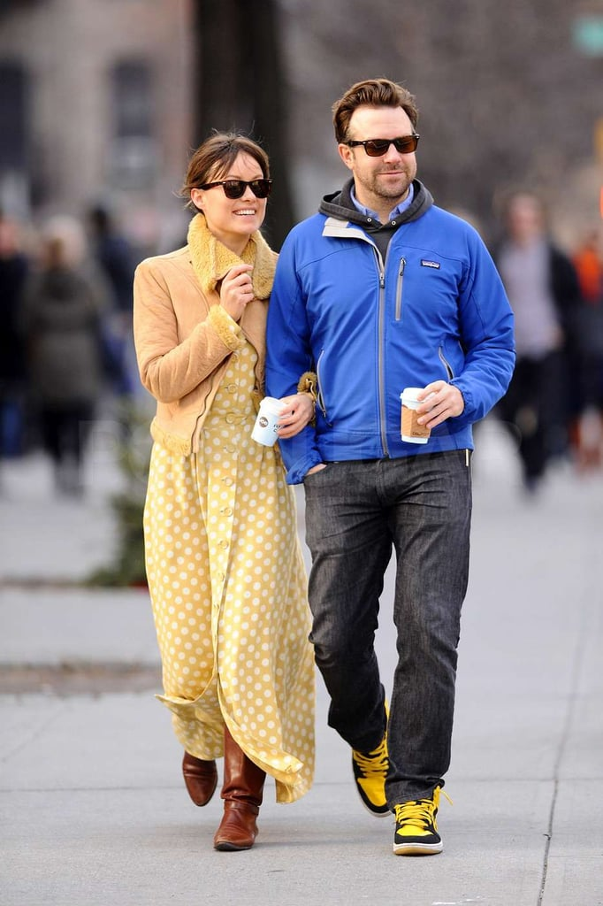 Olivia Wilde and Jason Sudeikis were arm in arm for a coffee date in the Big Apple yesterday. The pair celebrated New Year's Day in NYC after returning from a holiday trip together to Jason's hometown in Kansas. Olivia and Jason went public with their romance while visiting his family in the Midwest, attending a Kansas University Jayhawks game together on Thursday night, both of them decked out in team gear.  The pair have apparently been dating for at least a month, with Olivia attending SNL afterparties hand in hand with her new guy. Olivia, whose divorce from Italian prince Tao Ruspoli was finalized this Fall, was linked to several hot Hollywood guys after she split from her husband. Nonetheless, Jason is the first she's stepped out with since then. Jason's last high-profile romance was with January Jones, but the pair parted ways early last year, several months before she announced that she was expecting her first child as single mother.
