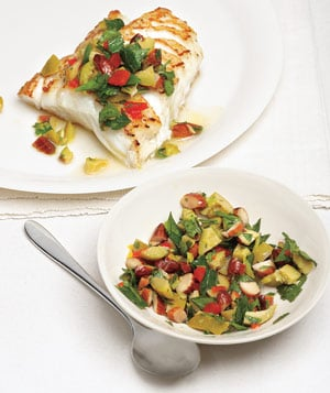 Fast & Easy Recipe for Striped Bass With Olive-Almond Relish