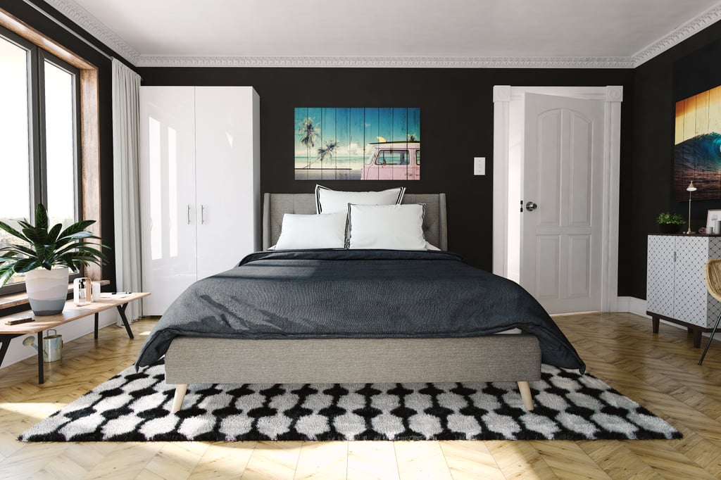 """Majesty Queen Linen Bed, Tufted Design and Slanted Wooden Legs, Grey Linen ($329) Retro Collection Stockings Shag Area Rug (7'6"""" x 9'6"""") in Black ($525)"""