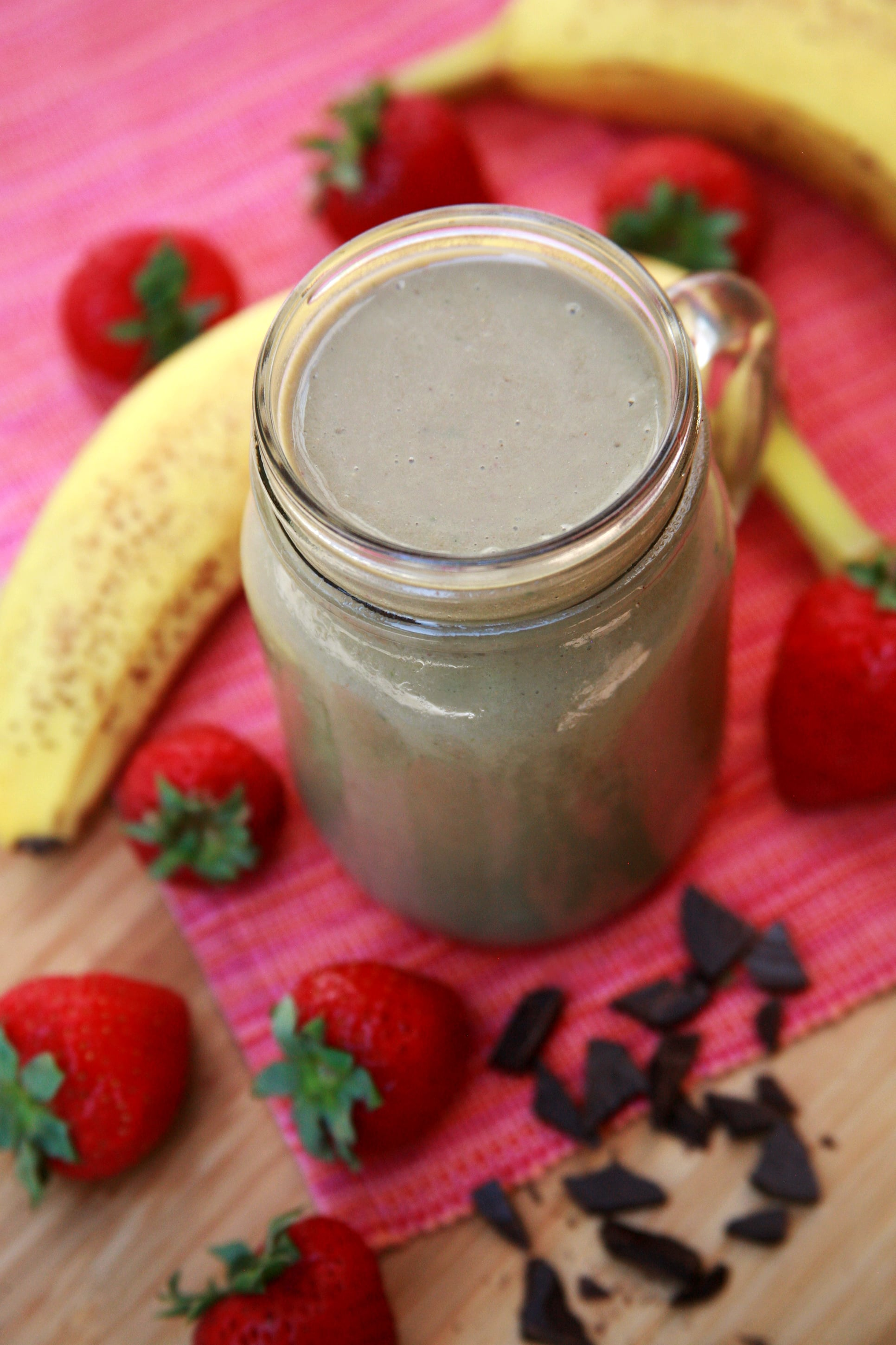 Recipe For Chocolate Strawberry Banana Smoothie | POPSUGAR Fitness