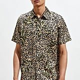 UO Leopard Print Satin Short Sleeve Button-Down Shirt