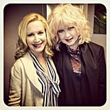 The Office star Angela Kinsey was pretty excited about meeting Cyndi Lauper backstage at New York Live.  Source: Instagram user angelakinsey