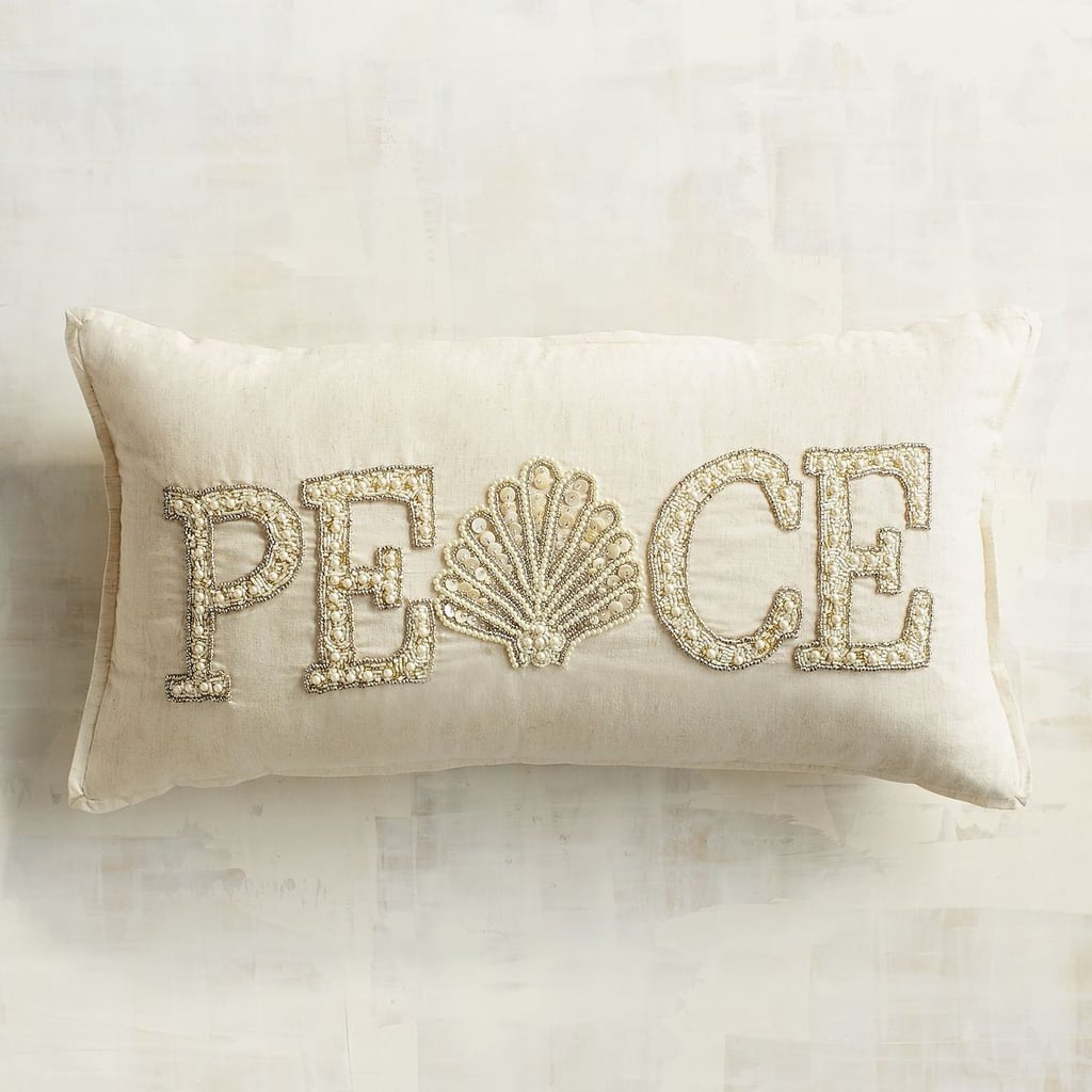 Beaded Shell Peace Lumbar Pillow ($40)
