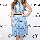 Lucy Hale wore a patterned ensemble.