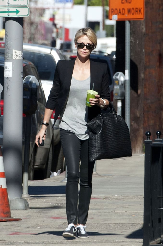 We're obsessed with the appeal of Charlize's sleek skinnies with a pair of casual trainers.