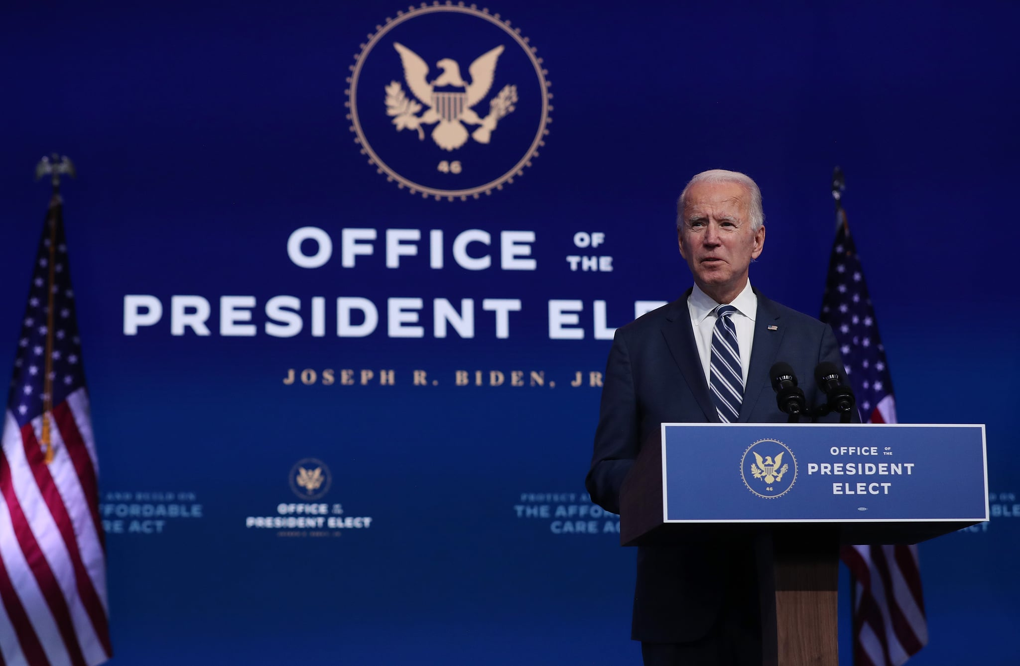 WILMINGTON, DELAWARE - NOVEMBER 10: U.S. President-elect Joe Biden addresses the media about the Trump Administration's lawsuit to overturn the Affordable Care Act on November 10, 2020 at the Queen Theatre in Wilmington, Delaware. Mr. Biden also answered questions about the process of the transition and how a Biden Administration would work with Republicans. (Photo by Joe Raedle/Getty Images)