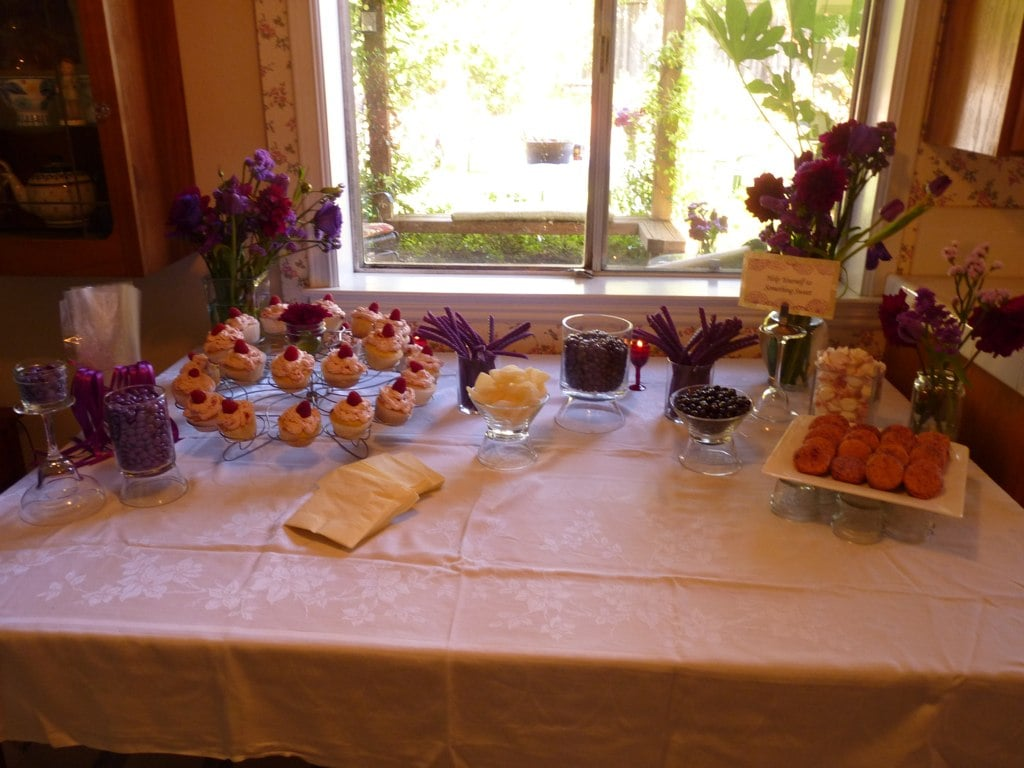 Inside, out of the hot sun, I set up a color-coded candy bar.