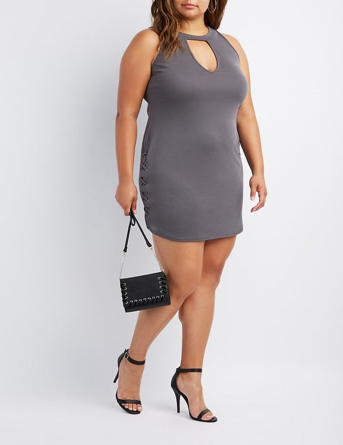 be4602a98155 Charlotte Russe Lace-Up Dress | Kim Kardashian's Gray Cutout Dress ...