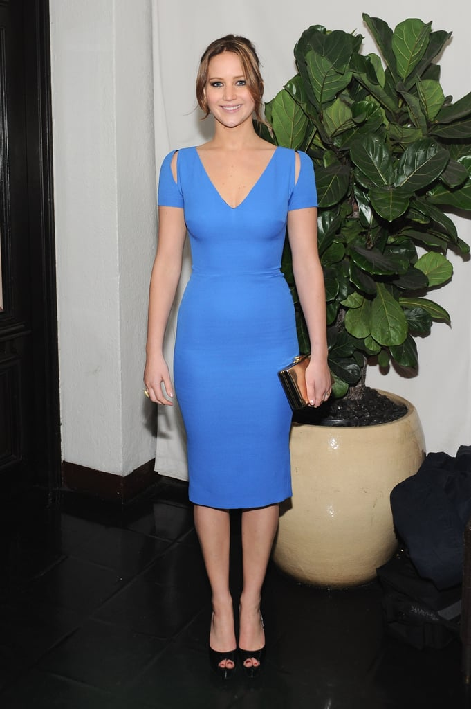 Jennifer Lawrence wore a bright blue dress to W magazine's annual Golden Globes party in LA.