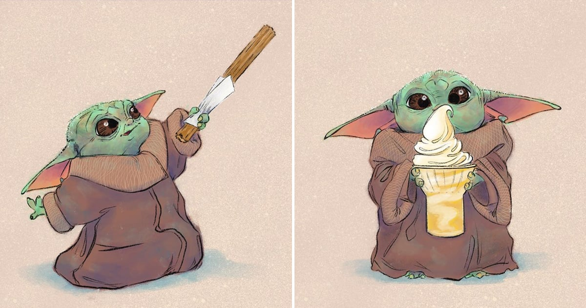 These Illustrations of Baby Yoda Eating Disney Park Snacks Are Out-of-This-Universe Adorable
