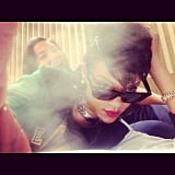 Rihanna partied in her hotel room with a friend. Source: Instagram user badgalriri