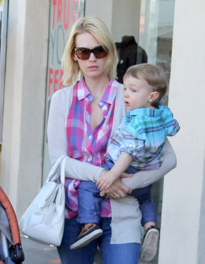 January Jones and her son, Xander, ran errands in LA together.