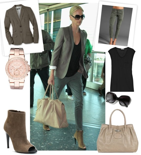 Photos of Charlize Theron Wearing J Brand Cargos, Bottega Veneta Booties at London Airport