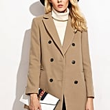Shein Camel Double Breasted Coat With Welt Pocket