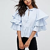 Asos Premium Cotton Ruffle Top With Pep Hem