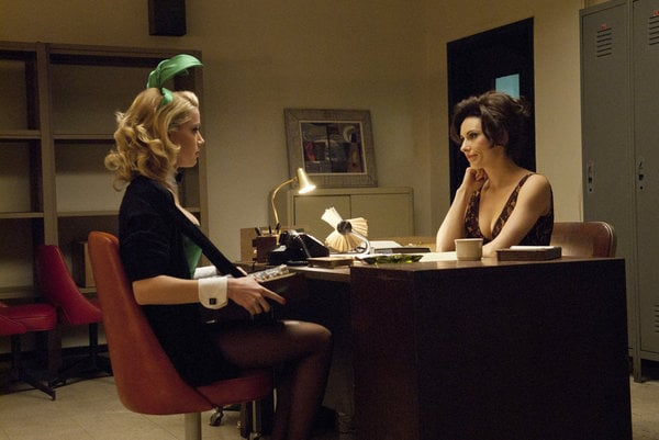 Amber Heard as Maureen and Laura Benanti as Carol Lynne on NBC's The Playboy Club.