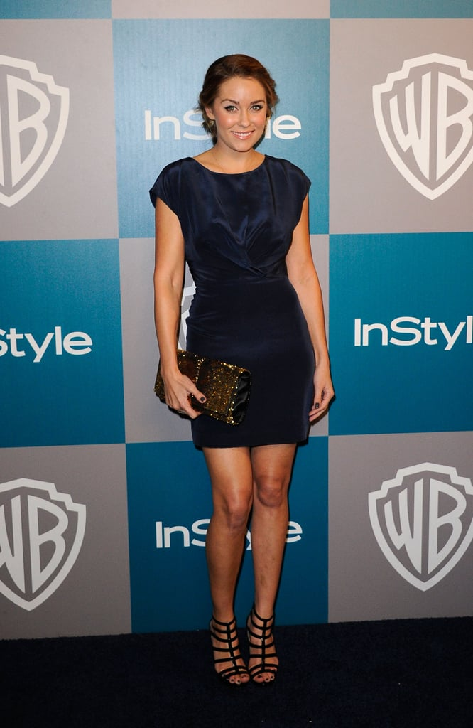 Lauren chose a simple midnight blue Paper Crown dress and statement gladiator-style heels for the 2012 InStyle Golden Globes after party.