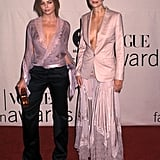 Mixing up a blazer and a a femme maxi at the Vogue Fashion Awards in 2001.