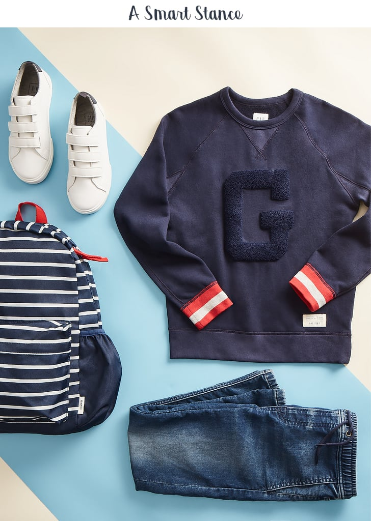 "He's comfortably studious in a logo raglan crew sweatshirt ($29.95) paired with super soft denim joggers ($39.95), standing tall and strong as he loads his books into a stripe senior backpack ($44.95). Confidence-boosting tip: Help kids find their ""thing"" — the passion they can't get enough of — whether it's a sport, comic-book art, conquering a video game, or playing the tuba. The sense of accomplishment they get through mastery is a huge lift."