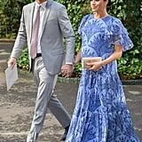 Meghan in a Blue Floral-Print Gown