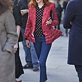 Rework your go-to trousers when you layer up mixed prints on top à la Taylor Tomasi Hill.