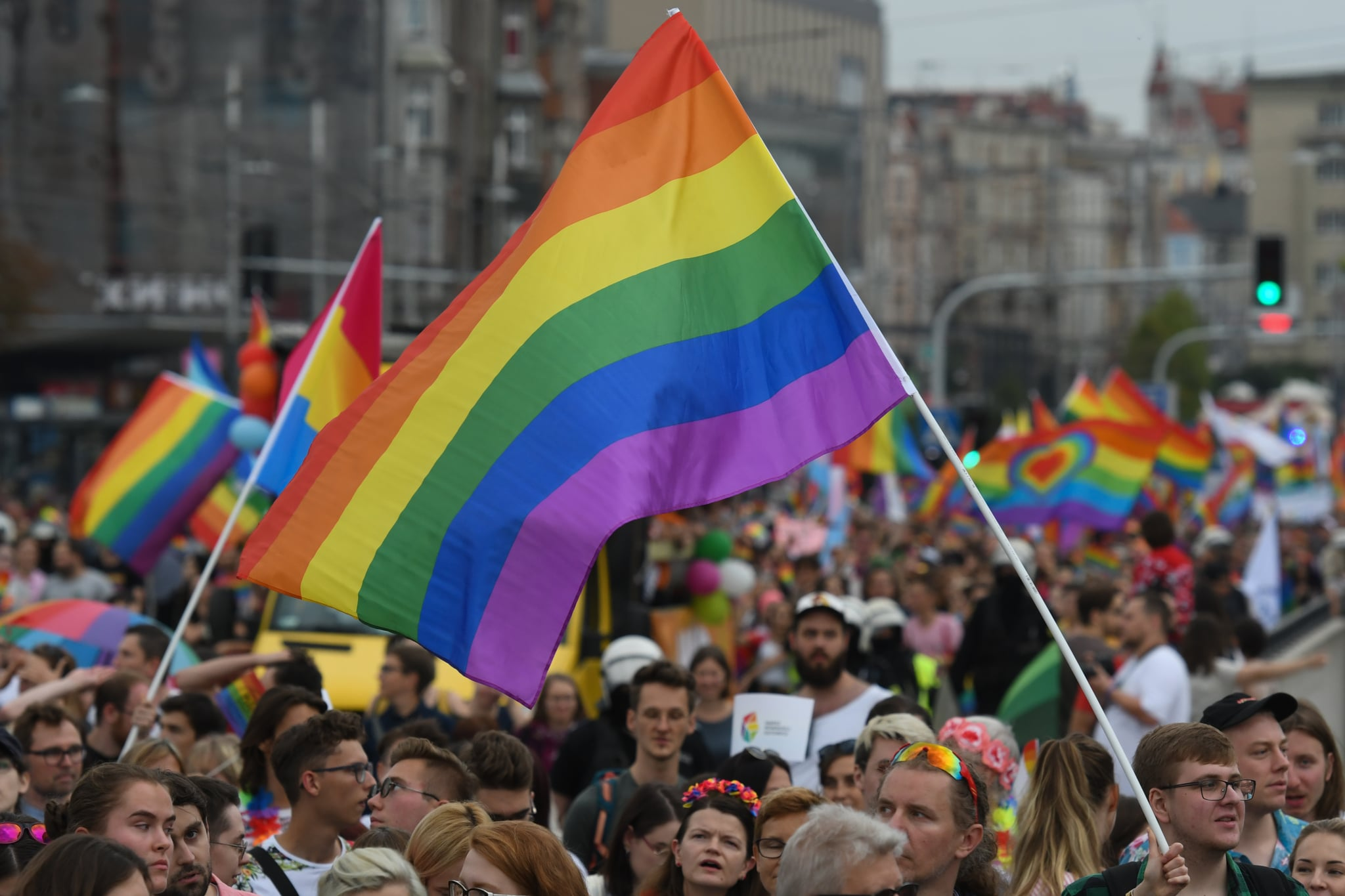 People march through Katowice city centre during the Equality March 2019.On Saturday, September 7, 2019, in Katowice, Poland. (Photo by Artur Widak/NurPhoto via Getty Images)