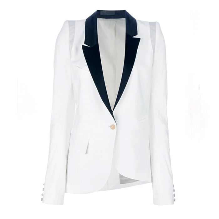 White Blazer with a Black Lapel